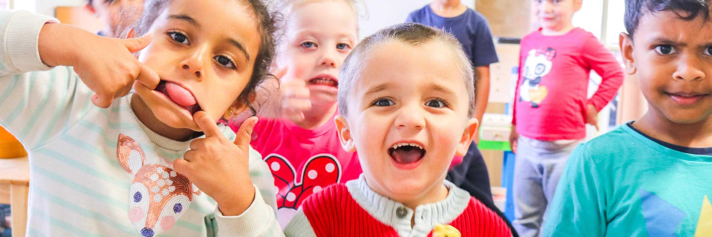 children smiling childcare centre hillside