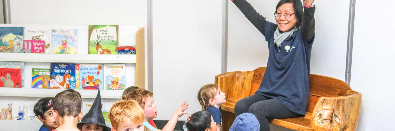 educator having fun with children